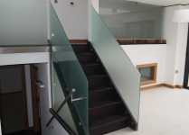 Internal etched glass staircase and first floor balcony screens (Clear glass)