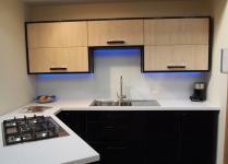 Colour changing top-lit glass splash-back